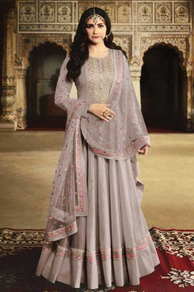 Georgette Grey Anarkali Suit Set