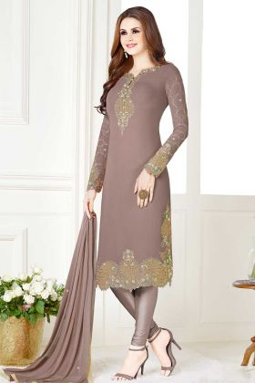 Georgette Grey Semi Stitched Salwar Suit With Embroidery Work