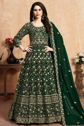 Georgette Heavy Designer Floor Length Anarkali Suit Dark Green
