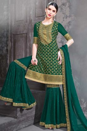 Georgette Heavy Designer Sharara Suit In Pine Green Color