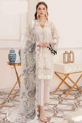 Georgette Heavy Embroidered Off White Color Charming Pakistani Salwar Suit