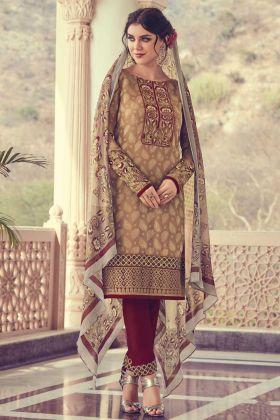 Georgette Jacquard Salwar Suit In Brown Color