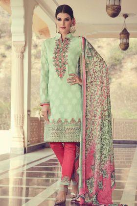 Georgette Jacquard Salwar Suit In Light Green Color