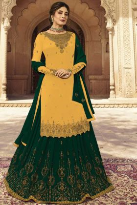 Georgette Lehenga Dress With Yellow Color