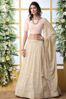 Georgette Light Beige Ghagra Blouse Design
