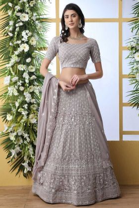 Georgette Light Grey Ghagra Choli In Resham Work