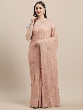 Georgette Light Peach Color Wedding Saree