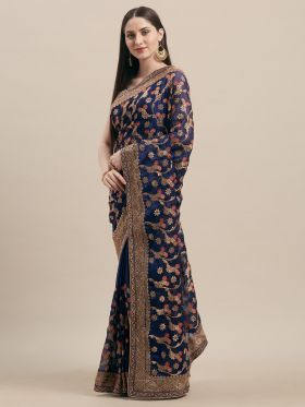 Georgette Navy Blue Color Indian Wedding Saree