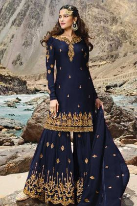 Georgette Navy Blue Sharara Dress For Girl