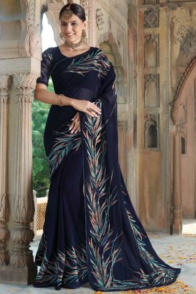 Georgette Navy Blue Thread Embroidery Party Wear Saree