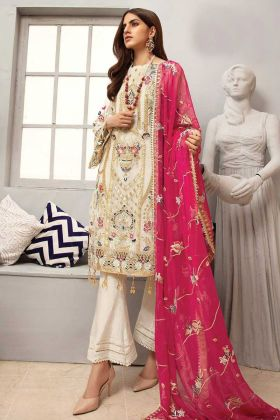 Georgette Off White Party Wear Pakistani Style Salwar Suit