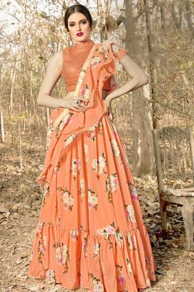 Georgette Orange Indian Designer Lehenga With Fancy Blouse