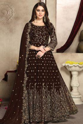 Georgette Party Wear Brown Color Anarkali Suit Online