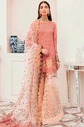 Georgette Party Wear Peach Pakistani Style Suit