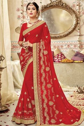 Georgette Party Wear Red Embroidery Saree