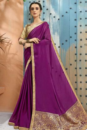 Georgette Party Wear Saree Purple Color With Short Pallu