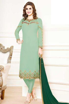 Georgette Pastel Green Casual Salwar Kameez