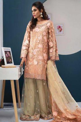 Georgette Peach Color Festival Wear Pakistani Style Suit