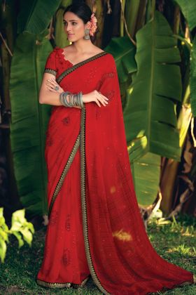 Georgette Printed Amazing Saree In Red Color