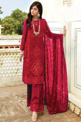 Georgette Red Color Pakistani Style Georgette Salwar Suit