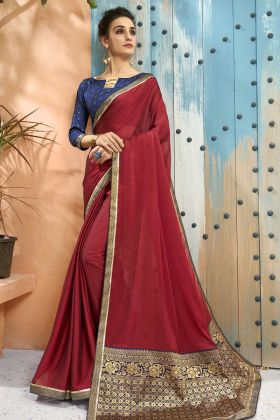 Georgette Red Party Wear Sarees With Jacquard Short Pallu