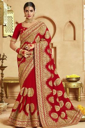 Georgette Red Saree For Karwa Chauth