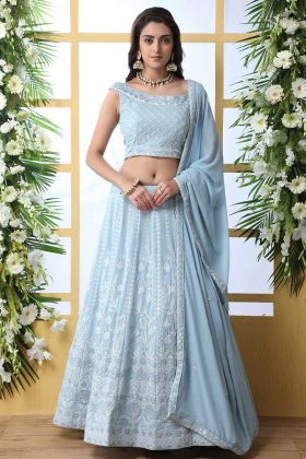 Georgette Sky Blue Embroidered Lehenga Choli For Women