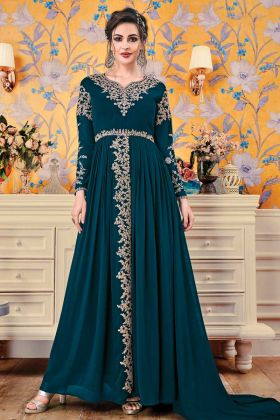 Georgette Teal Blue Party Wear Gown In Embroidery Work
