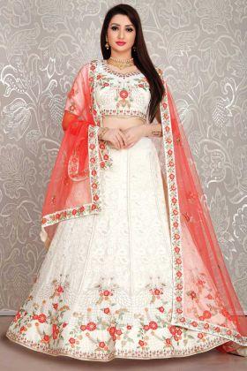 Georgette White Color Bridal Wear Designer Lehenga Choli