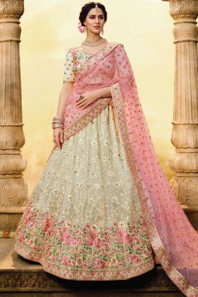 Georgette White Color Bridal Wear Heavy Lehenga Choli