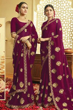 Georgette Wine Color Embroidery Saree