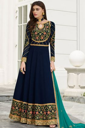 Georgette Abaya Style Anarkali Salwar Kameez Royal Blue Color With Embroidery Work