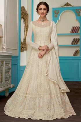 Georgette Anarkali Dress Embroidery Work In Cream Color