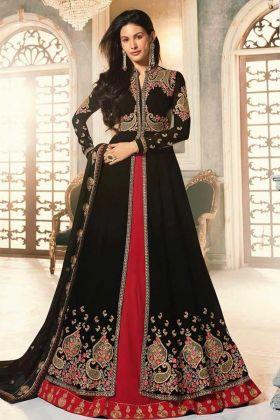 Georgette Anarkali Dress Heavy Embroidery Work In Black Color