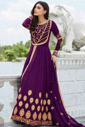Georgette Anarkali Dress Purple Color With Embroidery Work