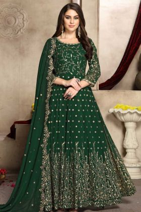 Georgette Anarkali Salwar Suit Dark Green Color With Jari Embroidery Work