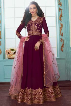 Georgette Anarkali Salwar Suit Embroidery Work In Wine Color