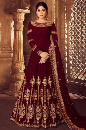 Georgette Anarkali Suit Maroon Color With Heavy Dupatta