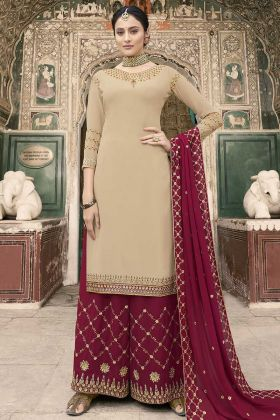 Georgette Beige Salwar Suit Maroon Color Bottom And Dupatta