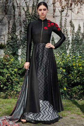 Georgette Black Designer Party Wear Salwar Suit