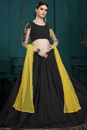 Georgette Black Lehenga Choli With Net Dupatta