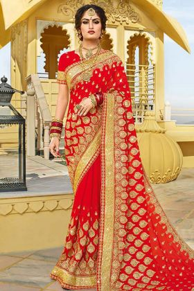 Georgette Bridal Red Saree