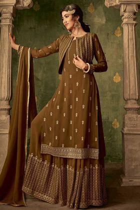 Georgette Brown Jacket Style Sharara Salwar Kameez