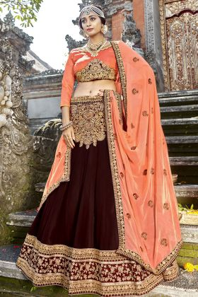Georgette Brown Wedding Lehenga Choli