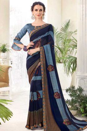 Georgette Casual Saree With Digital Printed Blue Color