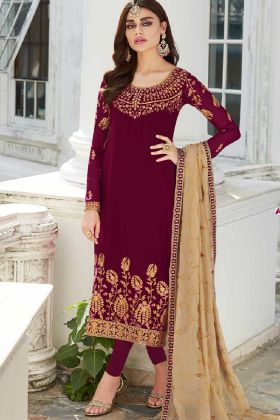 Georgette Churidar Dress Maroon Color With Embroidery Work