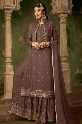 Georgette Coffee Jacket Style Sharara Salwar Kameez