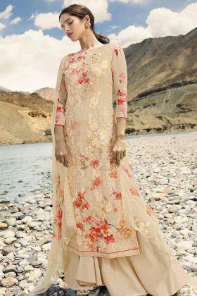 Georgette Cream Palazzo Salwar Suit