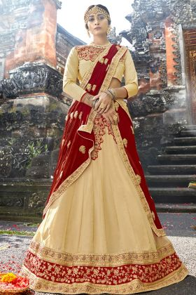 Georgette Cream Wedding Lehenga Choli