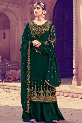 Georgette Dark Green Palazzo Dress Resham Embroidery